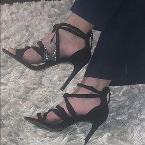 Zara Faux Suede Black Heels